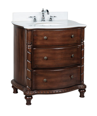 "31"" Benton Collection White Marble Top Keegan Bathroom Sink Vanity CF-47516W"