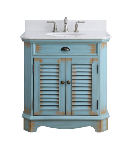 "32"" Benton Collection Fairfield Rustic Blue Bathroom Sink Vanity 47884BU"
