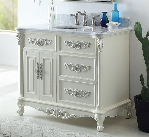 42 Benton Collection Verondia Antique Style White Bathroom Vanity Cf Bentoncollections