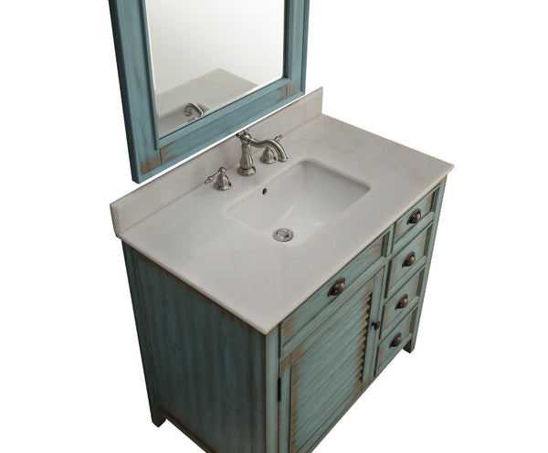 "36"" Abbeville Bathroom Sink Vanity, Distressed Blue - Benton Collection Model CF-78887BU"