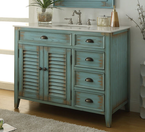 "42"" Abbeville Bathroom Sink Vanity, Distressed Blue - Benton Collection Model CF-78888BU"