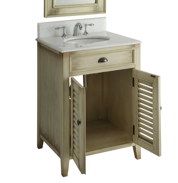 "26"" Cottage style Abbeville Bathroom Sink Vanity - CF28323W - Chans Furniture - 4"