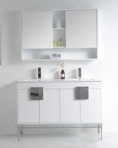 "47"" Tennant Brand Kuro Minimalistic White Double Bathroom Vanity - CL-101WH-47QD"