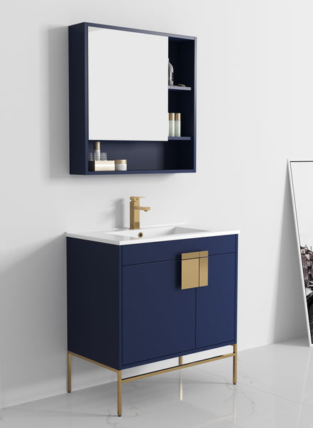 "32"" Tennant Brand Kuro Minimalistic Navy Blue Bathroom Vanity - CL-108NB-32ZI"