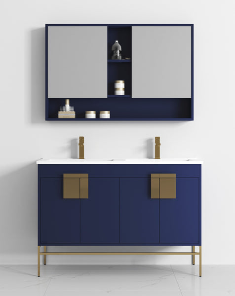 "47"" Tennant Brand Kuro Minimalistic Navy Blue Double Bathroom Vanity - CL-108NB-47QD"