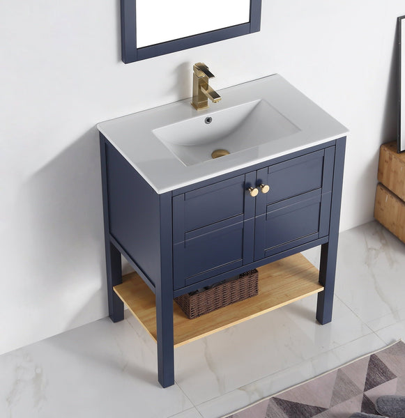 "30"" Tennant Brand Arola Small Slim Narrow Navy Blue Bathroom Vanity - CL-208NB-30"