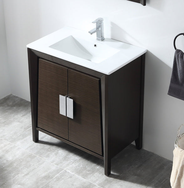 "30"" Tennant Brand Larvotto Ebony Contemporary Bathroom Vanity CL-22EB30-ZI"