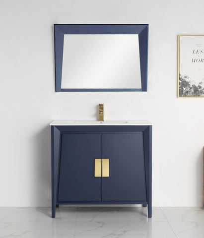 "36"" Larvotto Navy Blue Modern Bathroom Sink Vanity - CL-22NB36-ZI"