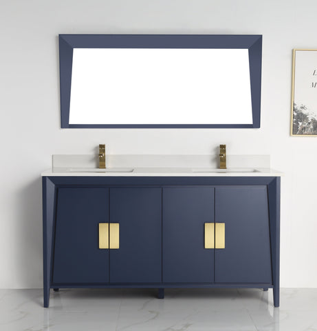 "60"" Larvotto Navy Blue Contemporary Double Sink Bathroom Vanity - CL-22NB60-QT"