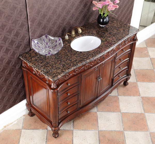"56"" Baltic Brown Granite Top Beckham Bathroom Sink Vanity CF-3882SB-TK-56 - Chans Furniture - 4"