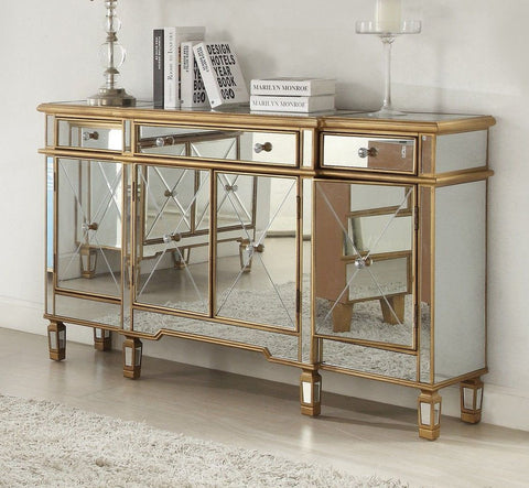 60-inch  Andrea Mirrored Hall Console DH-427-304 (Gold) - Chans Furniture