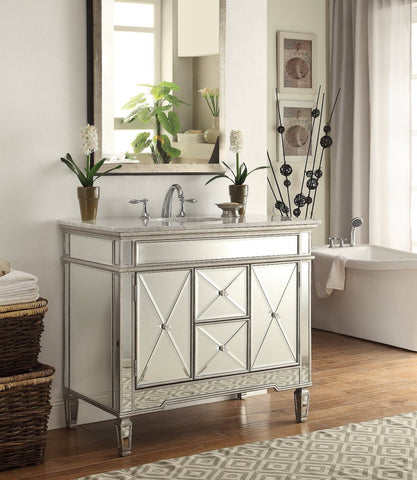 "40"" Mirrored Adelia Bathroom Sink Vanity DH-13Q332 - Chans Furniture - 2"