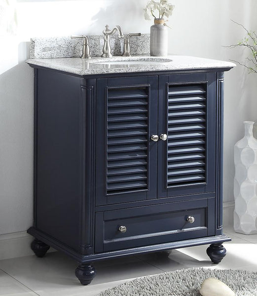 "30"" Keysville Navy Blue Shutter Blinds Bathroom Sink Cabinet Vanity GD-1087NB"