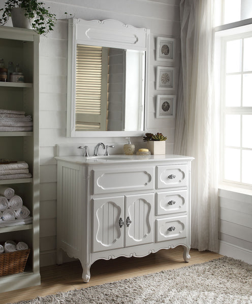 "42"" Victorian Cottage Style Knoxville Bathroom sink vanity Model GD-1509W-42BS-MIR - Chans Furniture - 3"