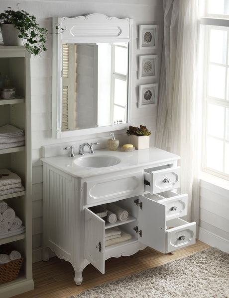 "42"" Victorian Cottage Style Knoxville Bathroom sink vanity Model GD-1509W-42BS-MIR - Chans Furniture - 2"