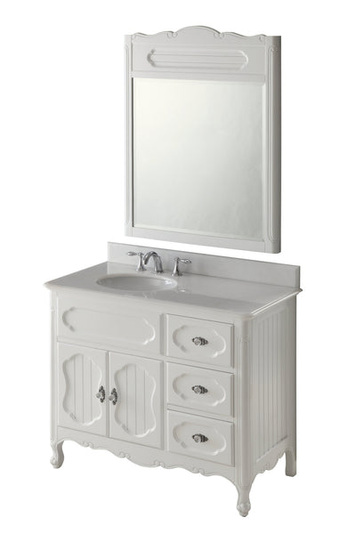 "42"" Victorian Cottage Style Knoxville Bathroom sink vanity Model GD-1509W-42BS-MIR - Chans Furniture - 4"