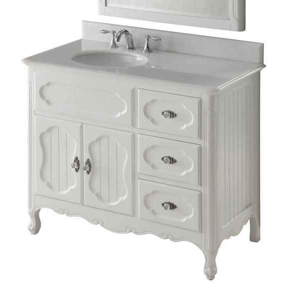 "42"" Victorian Cottage Style Knoxville Bathroom sink vanity Model GD-1509W-42BS-MIR - Chans Furniture - 5"