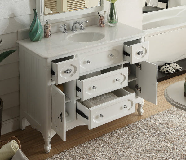 "48"" Victorian Cottage Style Knoxville Bathroom sink vanity Model GD-1522W-48BS - Chans Furniture - 3"