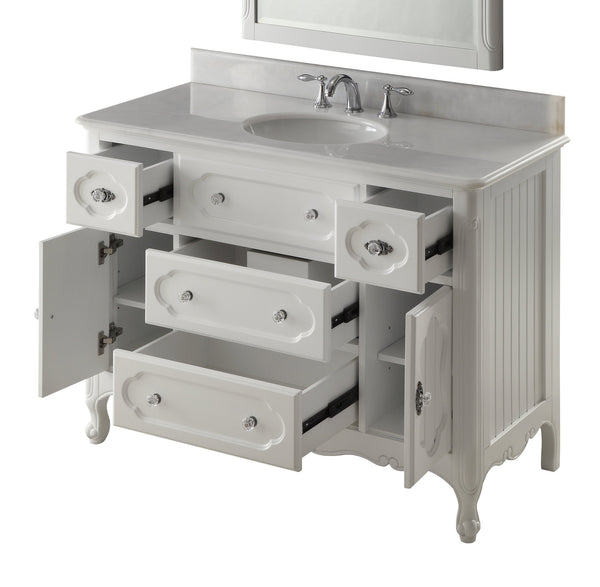 "48"" Victorian Cottage Style Knoxville Bathroom sink vanity Model GD-1522W-48BS-MIR - Chans Furniture - 5"