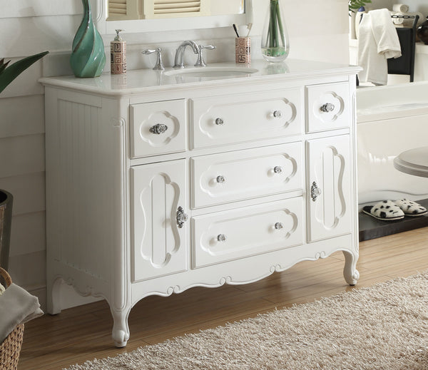 "48"" Victorian Cottage Style Knoxville Bathroom sink vanity Model GD-1522W-48BS-MIR - Chans Furniture - 4"