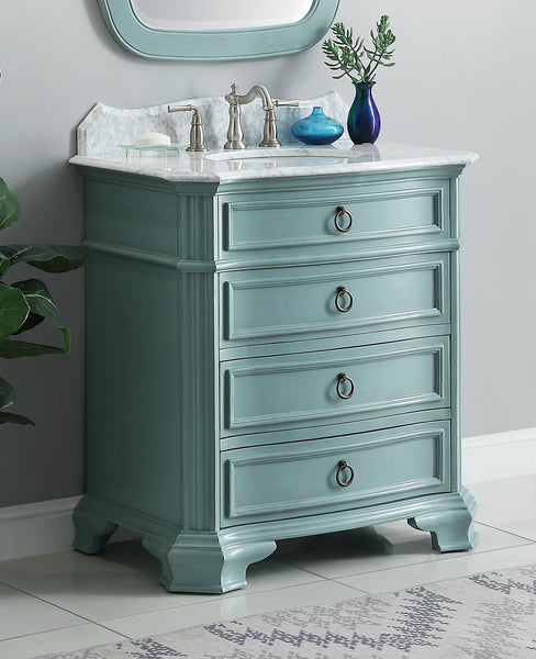 "32"" Benton Collection Carrara Marble top Termoli Bathroom Sink Vanity - Model # GD-2033BU"