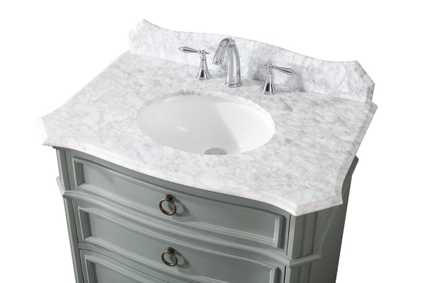 "32"" Benton Collection Carrara Marble top Termoli Bathroom Sink Vanity - Model # GD-2033CK"
