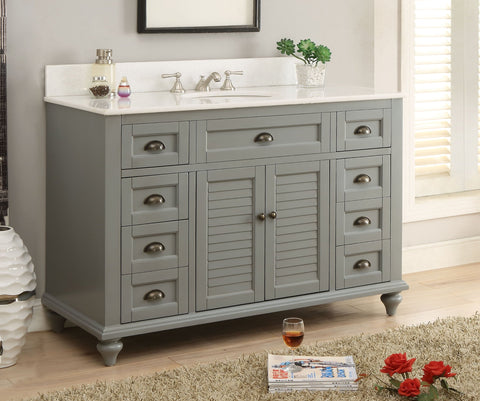 "49"" Benton Collection Cottage style Glennville Bathroom Sink Vanity GD28329CK (Grey)"
