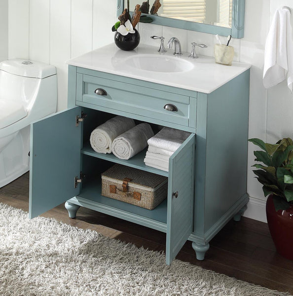 "34"" Cottage look Light Blue Glennville Bathroom Sink Vanity Model CF28668BU - Chans Furniture - 2"