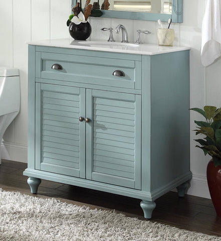 "34"" Cottage look Light Blue Glennville Bathroom Sink Vanity Model CF28668BU - Chans Furniture - 1"
