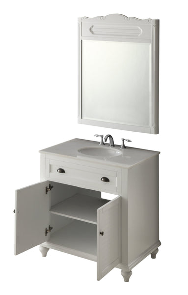 "34"" Cottage look White Glennville Bathroom Sink Vanity & mirror  Model CF-28667W-MIR - Chans Furniture - 5"