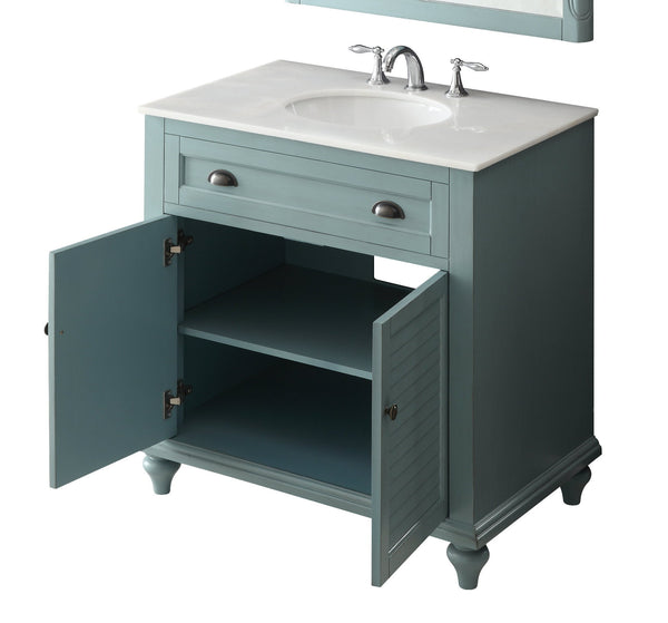 "34"" Cottage look Light Blue Glennville Bathroom Sink Vanity Model CF28668BU - Chans Furniture - 3"