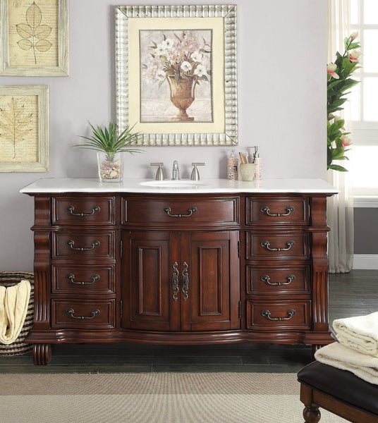 "60"" Hopkinton Bathroom Sink Vanity Cabinet - Benton Collection GD-4437W-60"