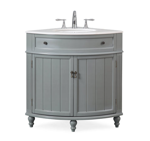 "24"" Benton Collection Thomasville Gray Framhouse Corner Bathroom Vanity - ZK-47566CK"