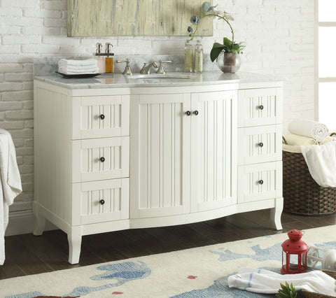 "49"" Italian Carrra Marble Top White Algar Bathroom Sink Vanity  # 9717W  (White)) - Chans Furniture - 1"