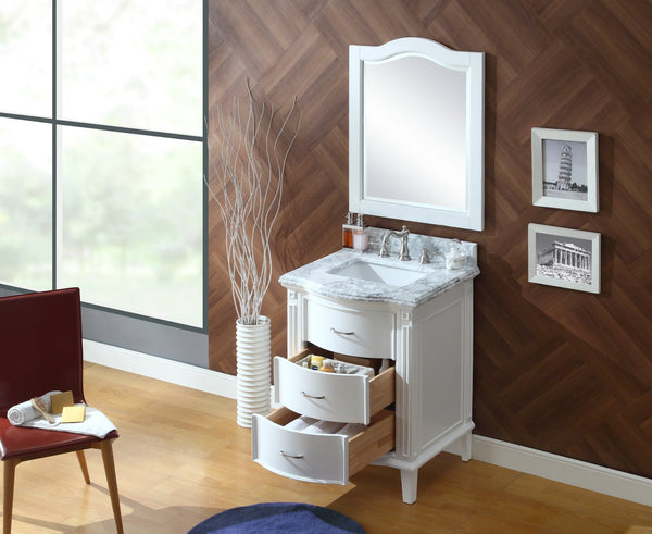 "26"" Benton Collection Italian Carrra Marble White Tigan Bathroom Sink Vanity w/mirror   # GD-9731-MIR"
