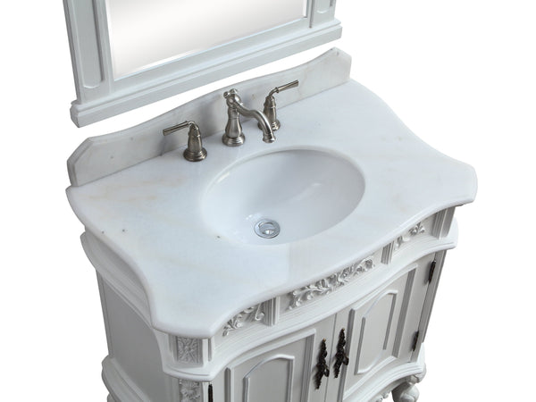 "33"" Antique White Benson Bathroom Sink Vanity ZK-021W-AW"