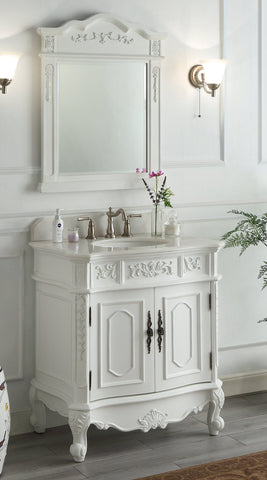 "33"" Antique White Classic Style Benson Bathroom Sink Vanity & Mirror ZK-021W-AW-MIR"