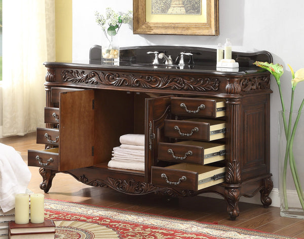 "60"" Old Timer Classic all wood Black Granite top Martinique bathroom sink vanity # HF-2GT-BS - Chans Furniture - 2"