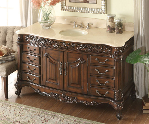 "60"" Old Timer Classic all wood Cream Marble Top Martinique bathroom sink vanity # HF-02M-BS - Chans Furniture - 3"
