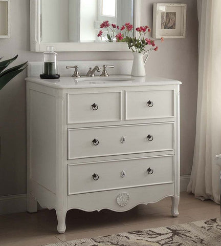 "34"" Antqiue White Daleville Bathroom Sink Vanity HF081-AW (Antique White) - Chans Furniture - 1"