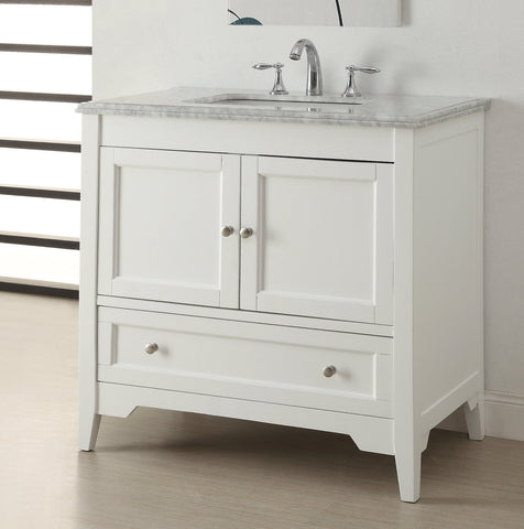 "36"" Intalian Carrara marble Karent Bathroom Sink Vanity Model # HF083 - Chans Furniture - 1"