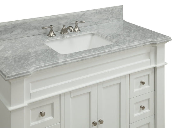 "48"" Kerianne Bathroom sink vanity cabinet Model HF-1084 (Carrara/White) - Chans Furniture - 4"