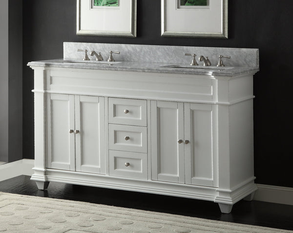 "60"" Kendall Double Sink Vanity with Italian Carrara Marble Countertop - Benton Collection Model HF-1085"
