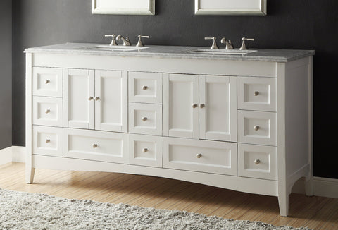 "72"" Italian Carrara Marble Kenly double sink bathroom vanity # HF-086 - Chans Furniture - 1"