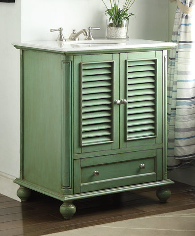 "30"" Shutter Blinds Keysville Bathroom Sink Vanity  HF-1087G  (Vintage Green) - Chans Furniture - 1"
