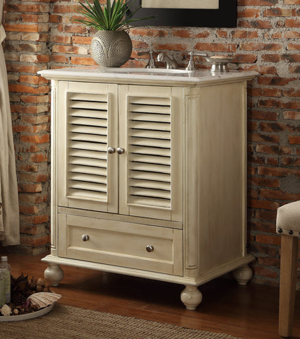 "30"" Shutter Blinds Keysville Bathroom Sink Vanity  HF-1087P (Distressed light beige) - Chans Furniture - 1"