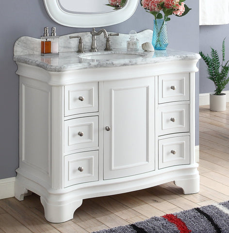 "42"" Benton Collection Carrara Marble Top Sesto White Bathroom Vanity Q1044W-RA"