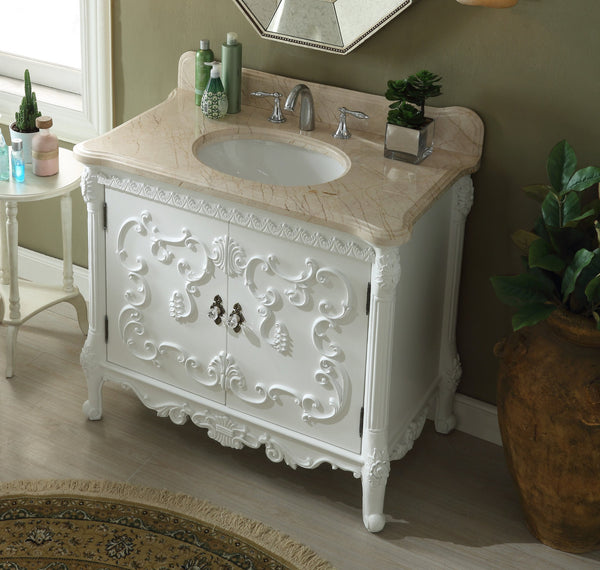 "40"" Rising Sun Beige Marble Top Bellissimo Bathroom Sink Vanity model #  HF-1091B - Chans Furniture - 2"