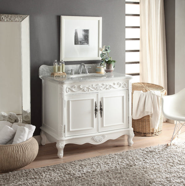 "39"" Italian Carara Marble Carbone Bathroom Sink Vanity model # HF-1092A - Chans Furniture - 3"