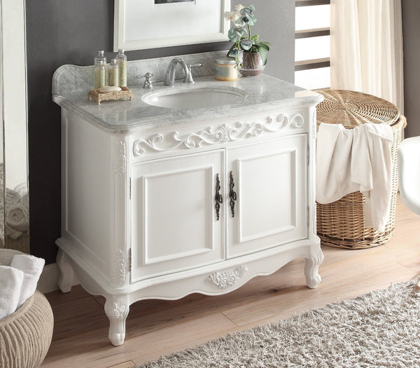 "39"" Italian Carara Marble Carbone Bathroom Sink Vanity model # HF-1092A - Chans Furniture - 2"